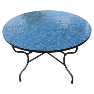 """Moroccan 48"""" Round Mosaic Table, Tamegroute Blue For Sale"""
