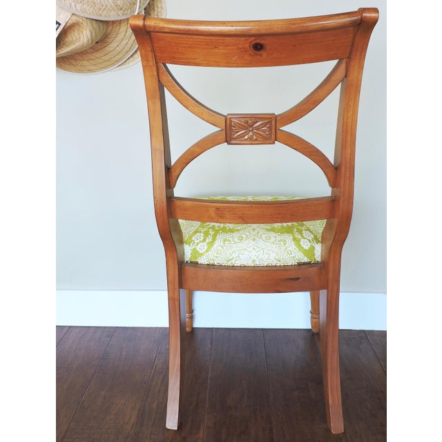 Green and Cream Linen Batik Print Side Chair For Sale - Image 4 of 8