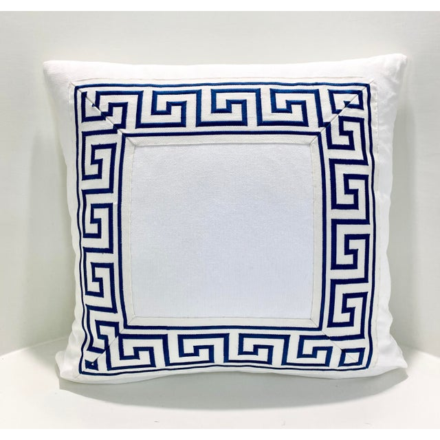 """Feather Contemporary Square Custom Made White With Navy Greek Key Trim Pillow - 21"""" For Sale - Image 7 of 7"""