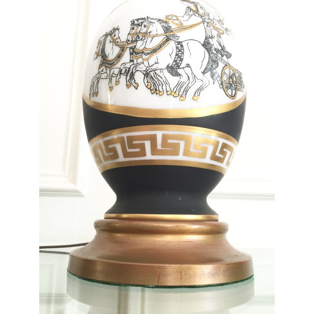 Black Porcelain Lamps with Gold Shades - A Pair - Image 8 of 11