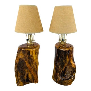 Organic Modern Design Maple Wood Table Lamps, a Pair For Sale