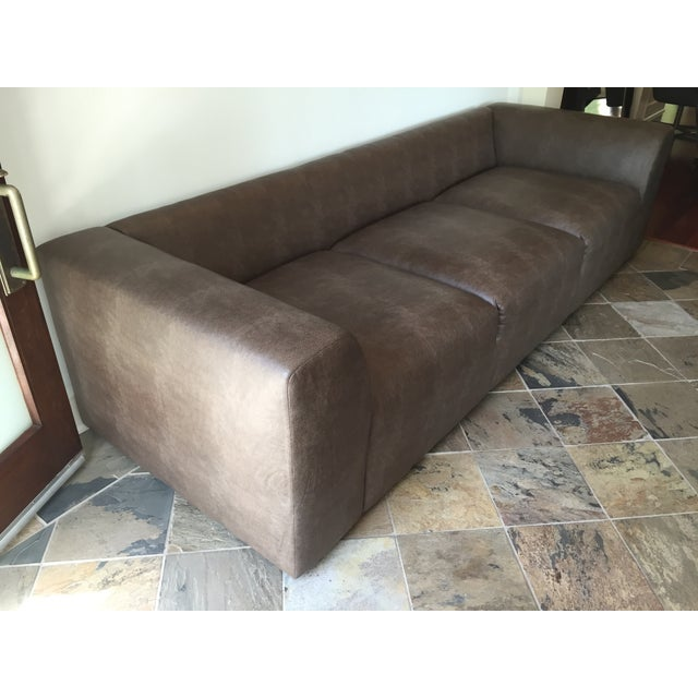 Mourra Starr Sofa, Brown Faux Leather - Image 6 of 7