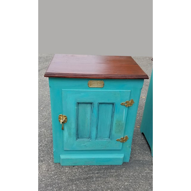 1990s French Country White Clad Turquoise Nightstands - a Pair For Sale - Image 4 of 12