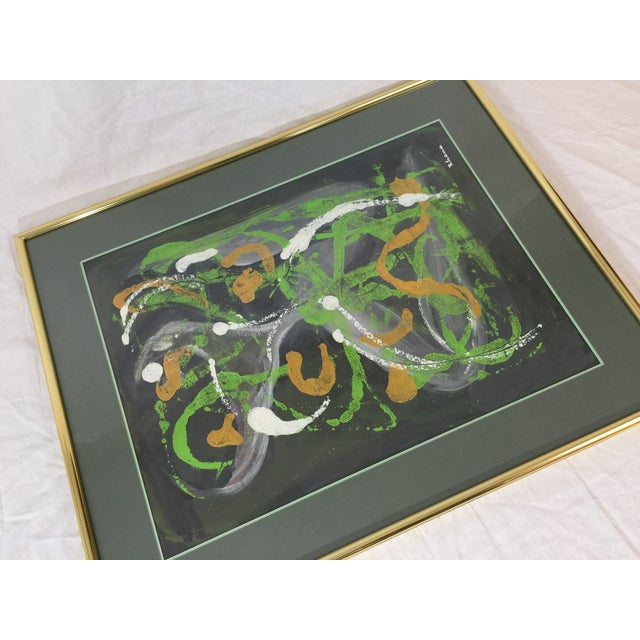 Lisa Rhana Untitled Abstract Green Oil on Paper - Image 3 of 6