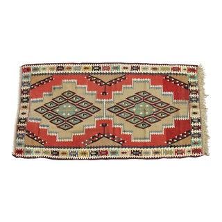 Hand Woven Turkish Kilim Natural Wool Rug - 3′4″ × 6′3″ For Sale