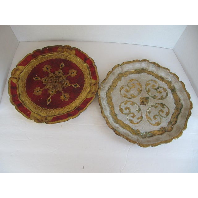 Italian Vintage Florentine Trays - a Pair For Sale - Image 3 of 7