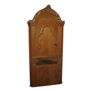 Norway / Danish Wooden Hand Carved Corner Cabinet For Sale