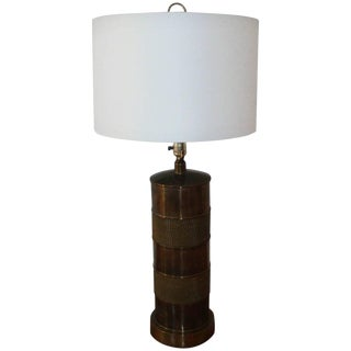 1970s Paul Hansen Brass Lamp With Shade For Sale