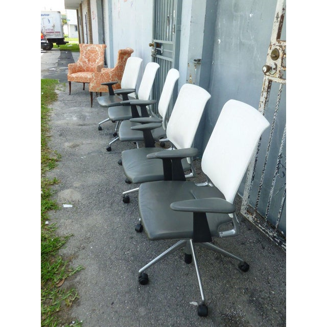 1950s Vitra Albert Meda Mesh Back and Leather Seat Chair For Sale - Image 5 of 6
