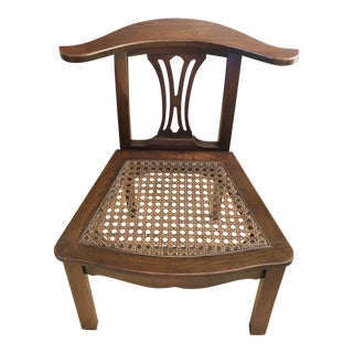 Vintage Lamp Hanger Yoke Back Cane Seat Accent Chair For Sale