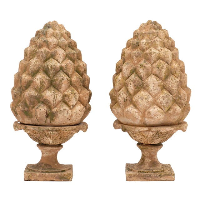 French Vintage Terracotta Pine Cones - a Pair For Sale
