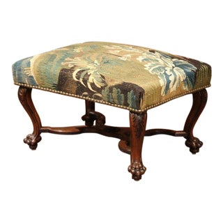 19th Century French Louis XV Carved Walnut Stool and Verdure Aubusson Tapestry