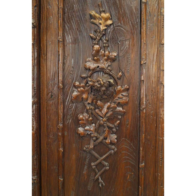 Rustic Black Forest 19th Century Walnut Three-Section Armoire Cabinet For Sale In New York - Image 6 of 11