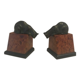 Vintage Burl Wood Cat Brass Bookends - a Pair For Sale