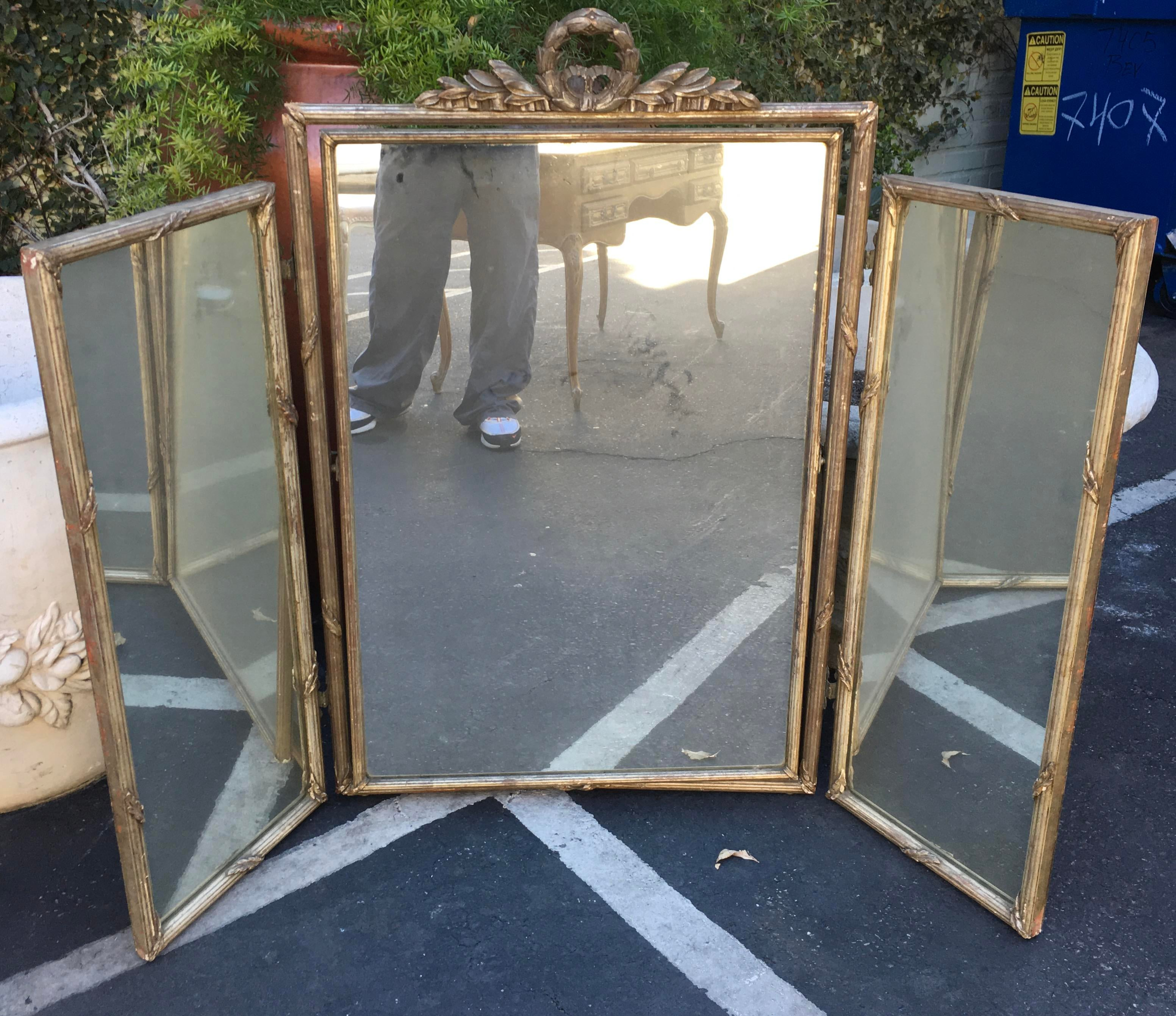 Antique French White Gold Tryptic Tri Fold Table Mirror   Image 4 Of 4