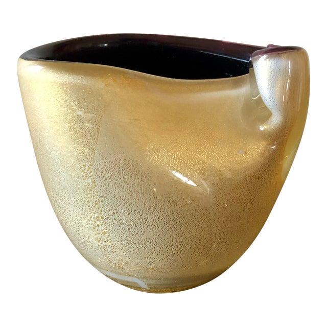 Vintage Small Violet Gold Murano Vase For Sale