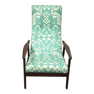 Mid-Century Green Patterned Lounge Chair