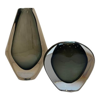 1950s Nils Landberg for Orrefors Dusk Series Swedish Sommerso Glass Vases - a Pair For Sale