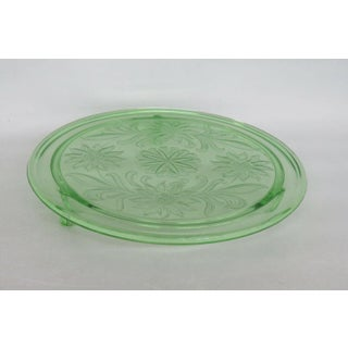 Jeannette Sunflower Style Green Depression Glass Three Footed Cake Plate Preview