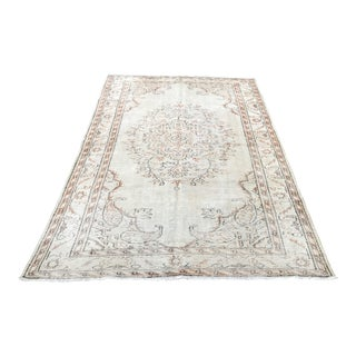 Beige Tribal Distressed Beige Wool Floor Rug For Sale