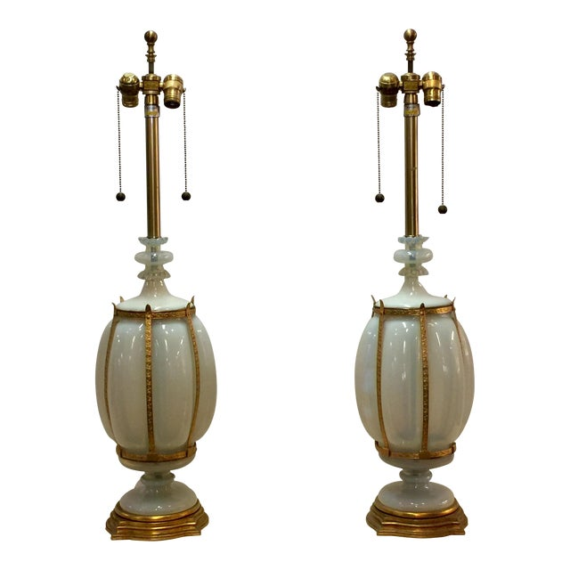 Seguso Caged Murano Opaline Glass Marbro Lamps - a Pair For Sale