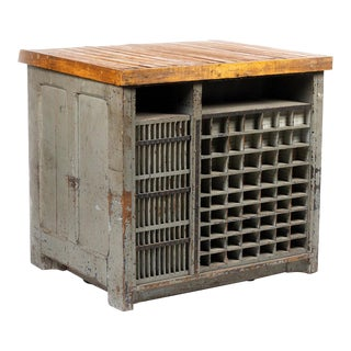 1920s Industrial Hamilton Flat File Printers Cabinet For Sale