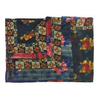 Floral Prints on Navy Vintage Kantha Quilt For Sale