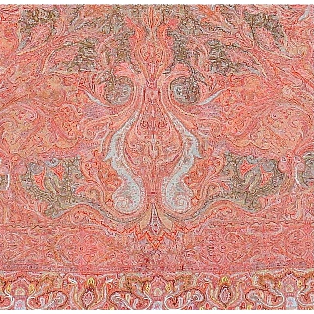 A Classic hand-embroidered and finely ornamented Indian wearing shawl in the European taste.