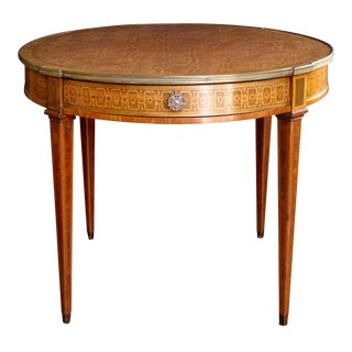 Elegant French Louis XVI Style Tiger Mahogany & Kingwood Inlaid Bouillotte Table For Sale