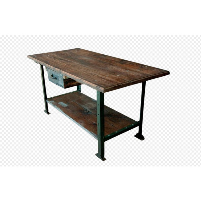 Great 1930's American Industrial Work/Island table with metal base.