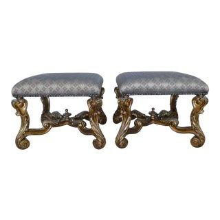 Late 20th Century Vintage Marge Carson Italianate Baroque Style Benches- A Pair For Sale