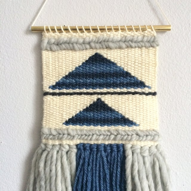 Mini Woven Wall Hanging Blue Geometric Triangle - Image 3 of 4