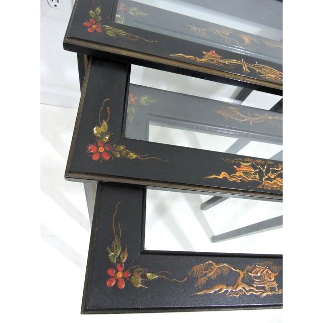 Black Vintage Black Japanned 'Pagoda & Landscape' Asian Glass Top Nesting / Side Tables - Set of 3 For Sale - Image 8 of 9