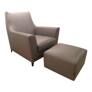 Ligne Roset Leather Chair and Ottoman - A Pair For Sale