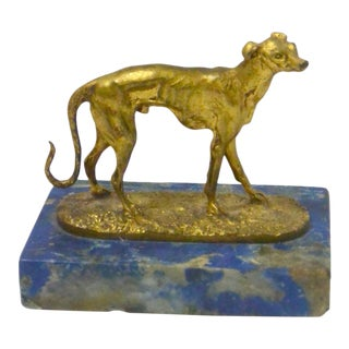 19th Century Mene Gilt Bronze Greyhound Dog on Lapis Base For Sale