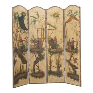 Vintage Chinoiserie Four-Panel Painted Screen on Board