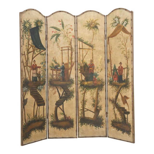 Vintage Chinoiserie Four-Panel Painted Screen on Board For Sale