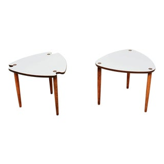 Style of Paul McCobb Triangular Nesting Tables Formica and Wood 1960s - 2 Sets For Sale