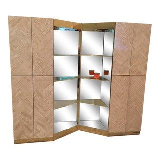 Ello Furniture Brass & Travertine Bar Cabinet For Sale