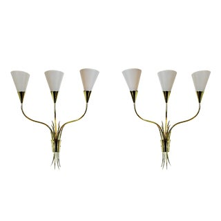 1955-1960 Pair of Wall Lights, Polished Brass, Celluloid Lampshades - France For Sale