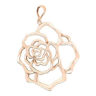 Sterling Silver Drawing of Rose Pendant For Sale