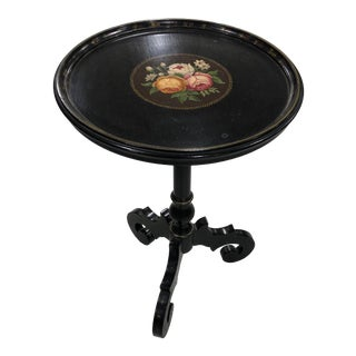 Arts & Crafts Decorative Round Floral Top Painted Side Table For Sale