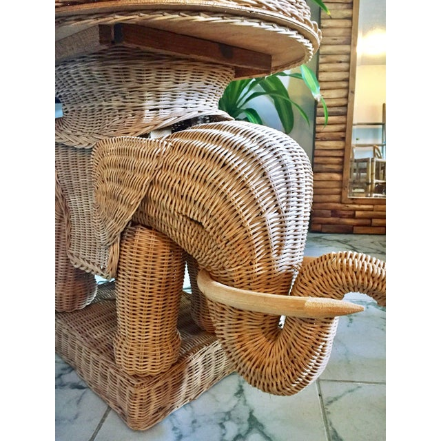 Hollywood Regency Wicker Elephant Table & Lamp - Image 8 of 11