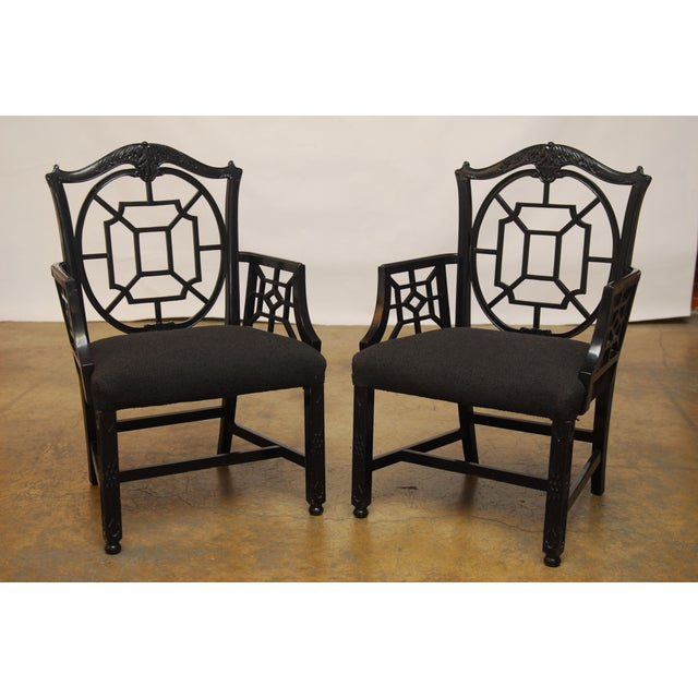 Black Lacquer Chinese Chippendale Armchair - Pair - Image 2 of 7