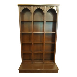 1970s English Traditional Cherry Wood Platform Bookcase For Sale