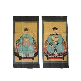 Pair Chinese Canvas Color Ink Royal Lady Gentleman Ancestor Paint Art For Sale