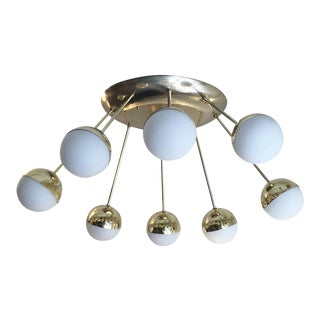 1960s Eight Globe Oval Flush Mount Chandelier For Sale