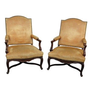 Early 20th Century Vintage Country French Arm Chairs- A Pair For Sale