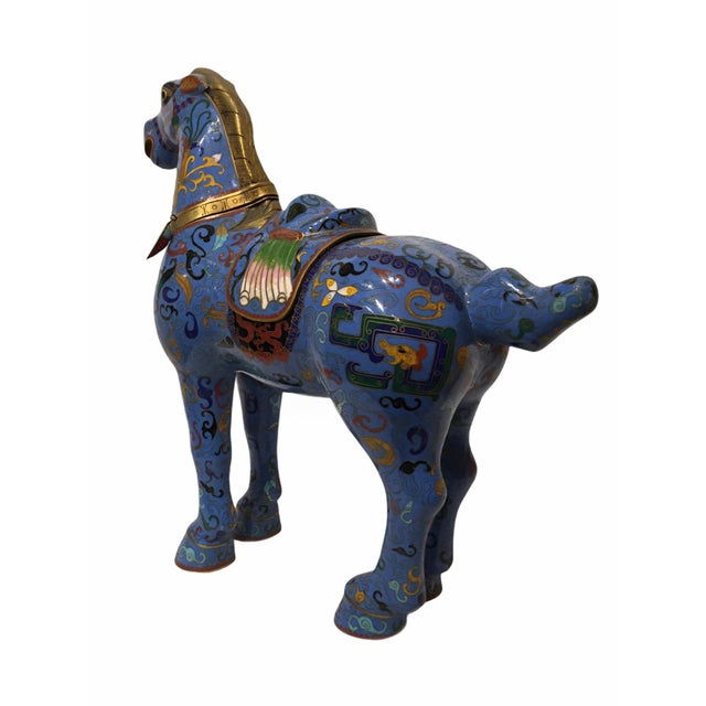 Chinese Vintage Chinese Cloisonné Horse Statue For Sale - Image 3 of 13