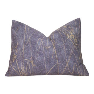 Hand-Stenciled Delicate Grasses Japanese Silk Kimono Pillow Cover For Sale